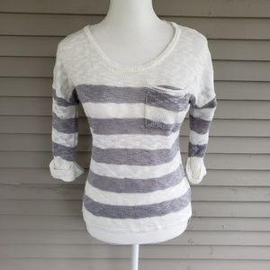 Maurices Gray & Cream Striped Sweater Size Small
